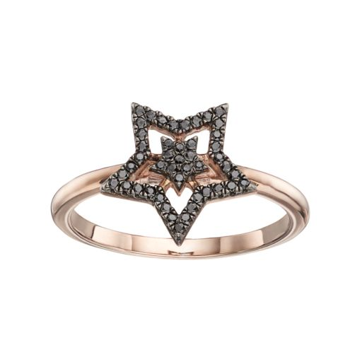14k Rose Gold 1/6 Carat T.W. Black Diamond Double Star Ring