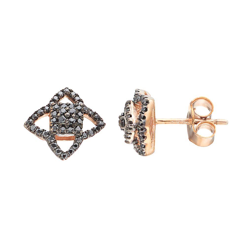 14k Rose Gold 1/4 Carat T.W. Black Diamond Star Stud Earrings