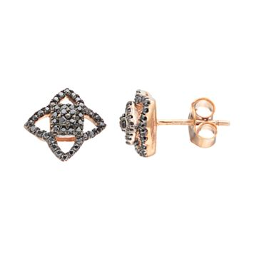 14k Rose Gold 1/4 Carat T.W. Black Diamond Star Stud Earrings