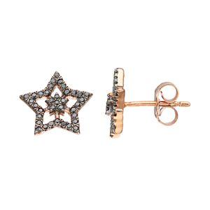 14k Rose Gold 1/5 Carat T.W. Black Diamond Double Star Stud Earrings