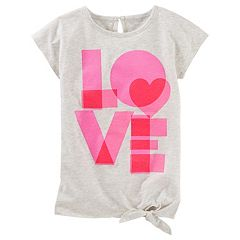 Girls 4-8 OshKosh B'gosh® Short Sleeve Tie Front Graphic Tunic Top
