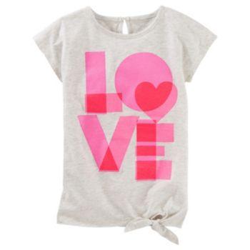 Girls 4-8 OshKosh B'gosh® Short Sleeve Tie Front Graphic Tunic Top