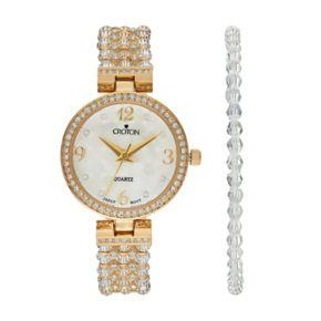 Croton Women's Austrian Crystal Watch & Beaded Bracelet Set