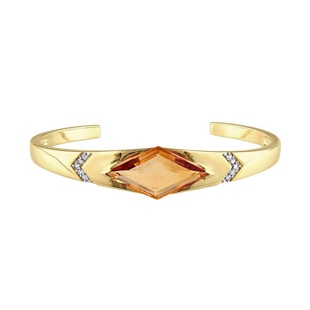 V19.69 Italia 18k Gold Over Silver Citrine Prism Cuff Bracelet