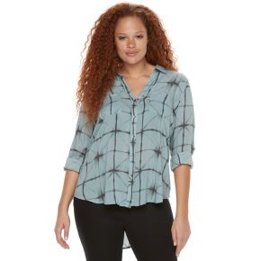 Plus Size Rock & Republic® Plaid Roll-Tab Shirt