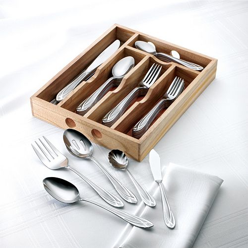 Hampton Forge Lace Frosted 54-pc. Flatware Set with Wood Caddy