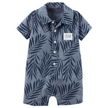 Baby Boy Carter's Palm Leaf Button-Front Romper