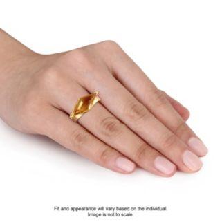 V19.69 Italia 18k Gold Over Silver Citrine Prism Ring