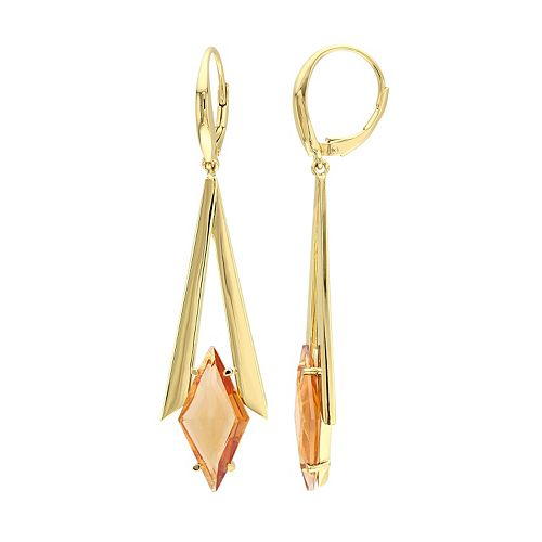 V19.69 Italia 18k Gold Over Silver Citrine Prism Drop Earrings