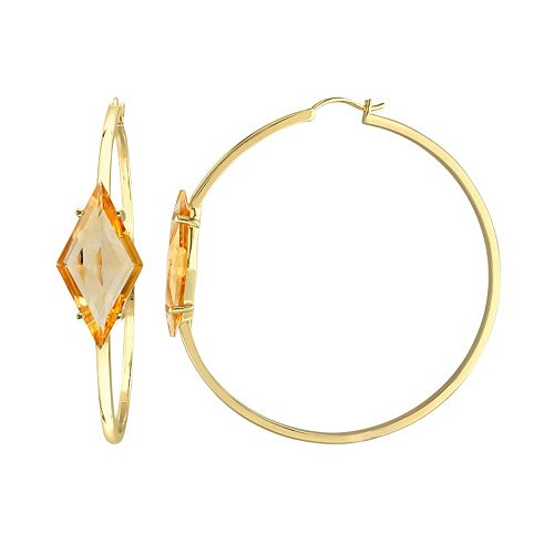 V19.69 Italia 18k Gold Over Silver Citrine Prism Hoop Earrings