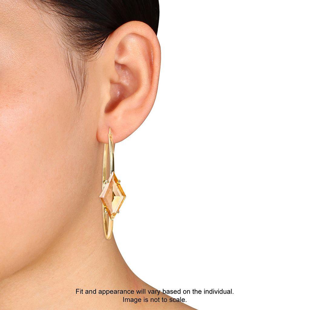 V19.69 Italia 18k Gold Over Silver Citrine Prism Hoop Earrings