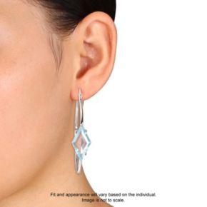 V19.69 Italia Sterling Silver Blue Topaz Prism Hoop Earrings
