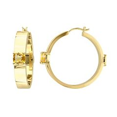 V19.69 Italia 18k Gold Over Silver Citrine Hoop Earrings