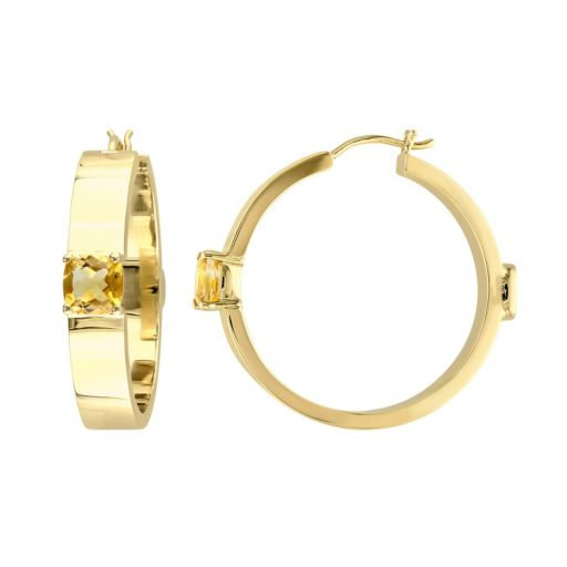 V19.69 Italia 18k Gold Over Silver Citrine Hoop Earrings