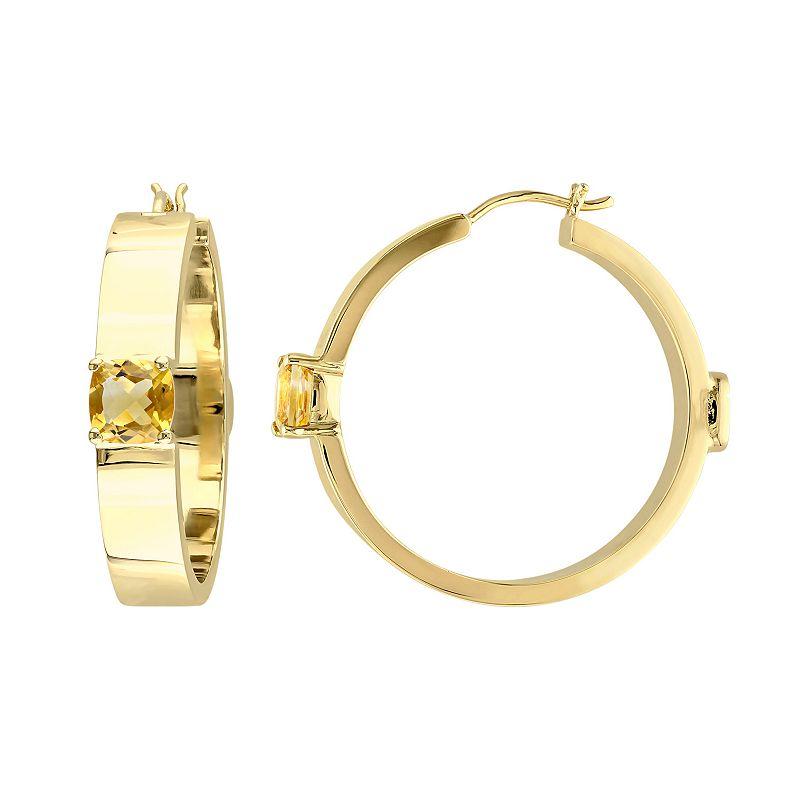 4195bd8711 V19.69 Italia 18k Gold Over Silver Citrine Hoop Earrings