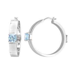 V19.69 Italia Sterling Silver Blue Topaz Hoop Earrings