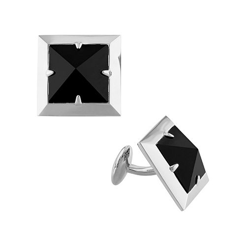 V19.69 Italia Men's Sterling Silver Onyx Pyramid Cuff Links