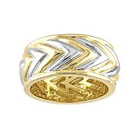 V19.69 Italia Men's Two Tone Sterling Silver Chevron Ring