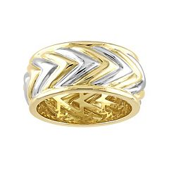 Stella Grace V19.69 Italia Men's Two Tone Sterling Silver Chevron Ring