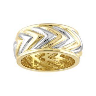 V19.69 Italia Men's Two Tone Sterling Silver Chevron Ring