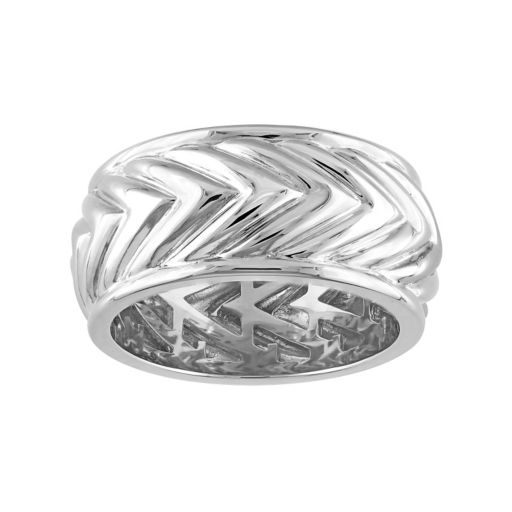 V19.69 Italia Men's Sterling Silver Chevron Ring
