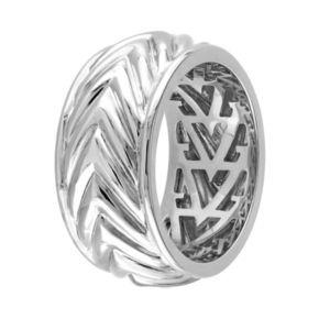 V19.69 Italia Men's Sterling Silver Chevron Ring