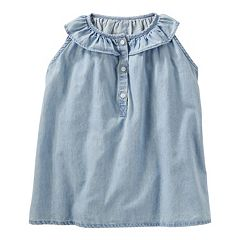 Girls 4-8 OshKosh B'gosh® Ruffled Chambray Henley Top