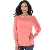 Women's AB Studio Embroidered Smocked Top