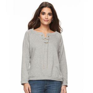 Women's Alex & Parker Lace-Front Sweatshirt