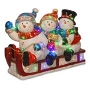 National Tree Company 29 in Pre-Lit Fiberglass Snowmen & Sled Christmas Decor
