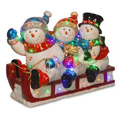 National Tree Company 29 in Pre-Lit Fiberglass Snowmen & Sled Christmas Decor