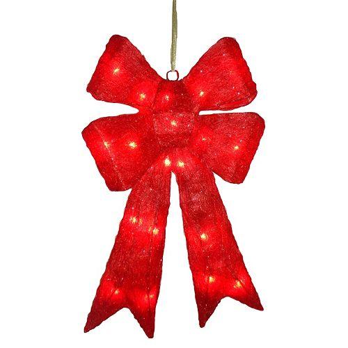 National Tree Company Wavy Red Christmas Bow