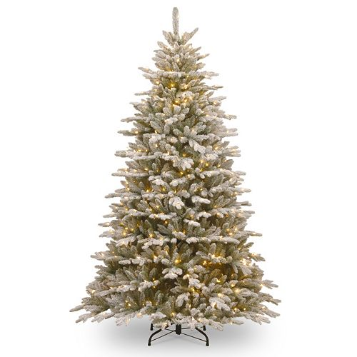 National Tree Company 7.5-ft. Pre-Lit Artificial Snowy Sierra Spruce Slim Christmas Tree