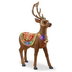 pre lit fiberglass standing deer christmas decor - Christmas Reindeer Decorations