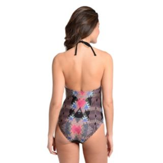Women's Cyn and Luca Tummy Slimmer Printed Halter One-Piece Swimsuit
