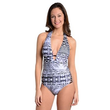 Women's Cyn and Luca Tummy Slimmer Geometric Halter One-Piece Swimsuit