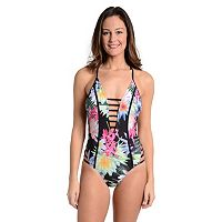 Women's Cyn and Luca Tummy Slimmer Floral Cutout One-Piece Swimsuit