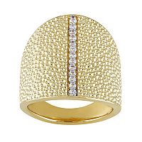 V19.69 Italia 18k Gold Over Silver White Sapphire Dome Ring