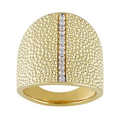 V19.69 Italia 18k Gold Over Silver White Sapphire Dome Ring