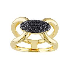 V19.69 Italia 18k Gold Over Silver Black Sapphire Ring