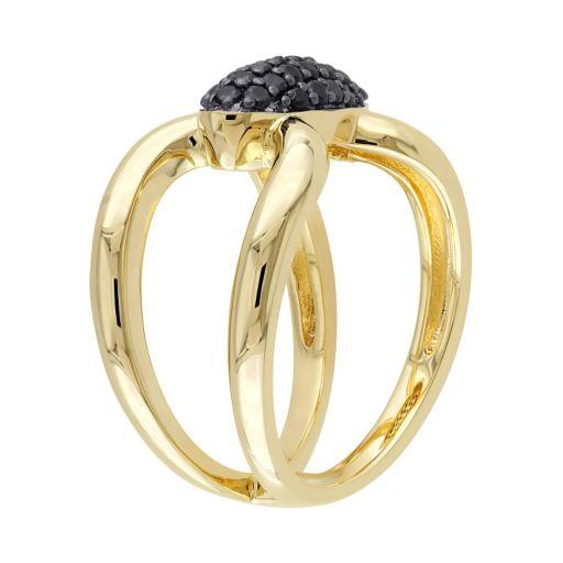 V19.69 Italia 18k Gold Over Silver Black Sapphire Ring