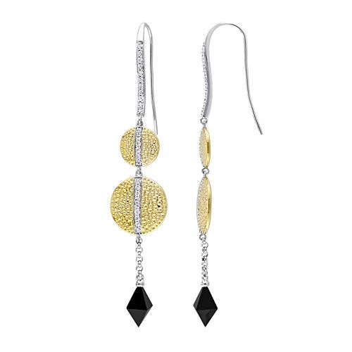 V19.69 Italia Two Tone Sterling Silver Black Onyx & White Sapphire Moonlight Drop Earrings