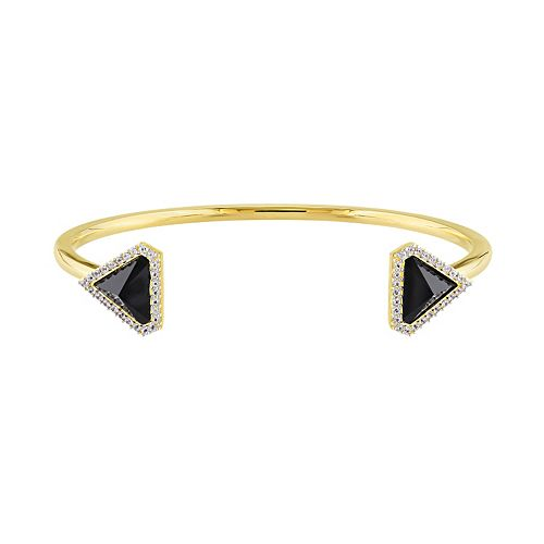 V19.69 Italia 18k Gold Over Silver Black Agate Triangle Cuff Bracelet