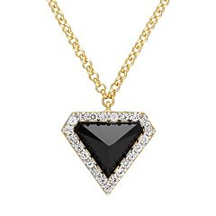 V19.69 Italia 18k Gold Over Silver Black Agate Triangle Pendant