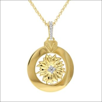 Stella Grace V19.69 Italia 18k Gold Over Silver White Sapphire Sunflower Pendant