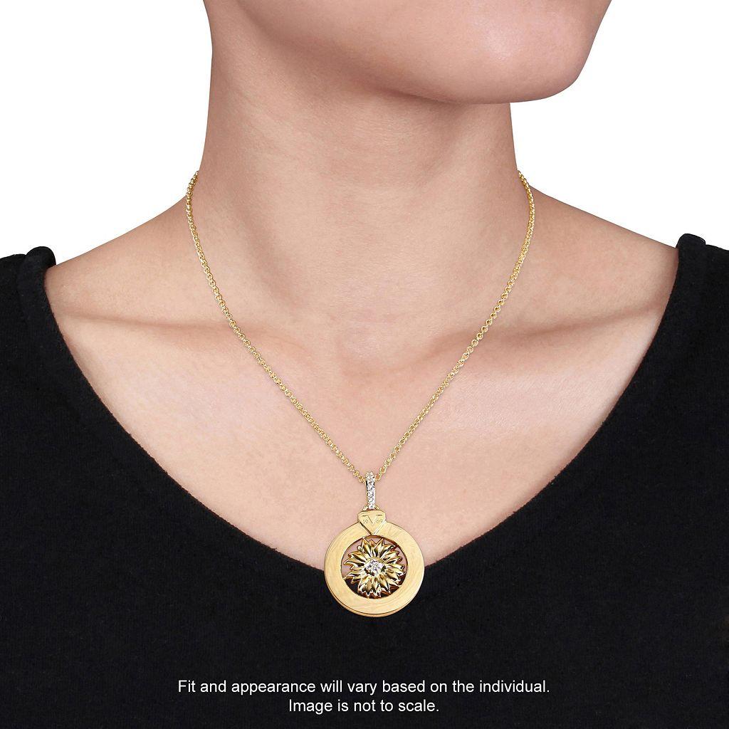 V19.69 Italia 18k Gold Over Silver White Sapphire Sunflower Pendant