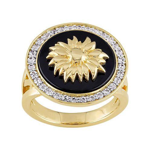 V19.69 Italia 18k Gold Over Silver Black Agate Sunflower Ring
