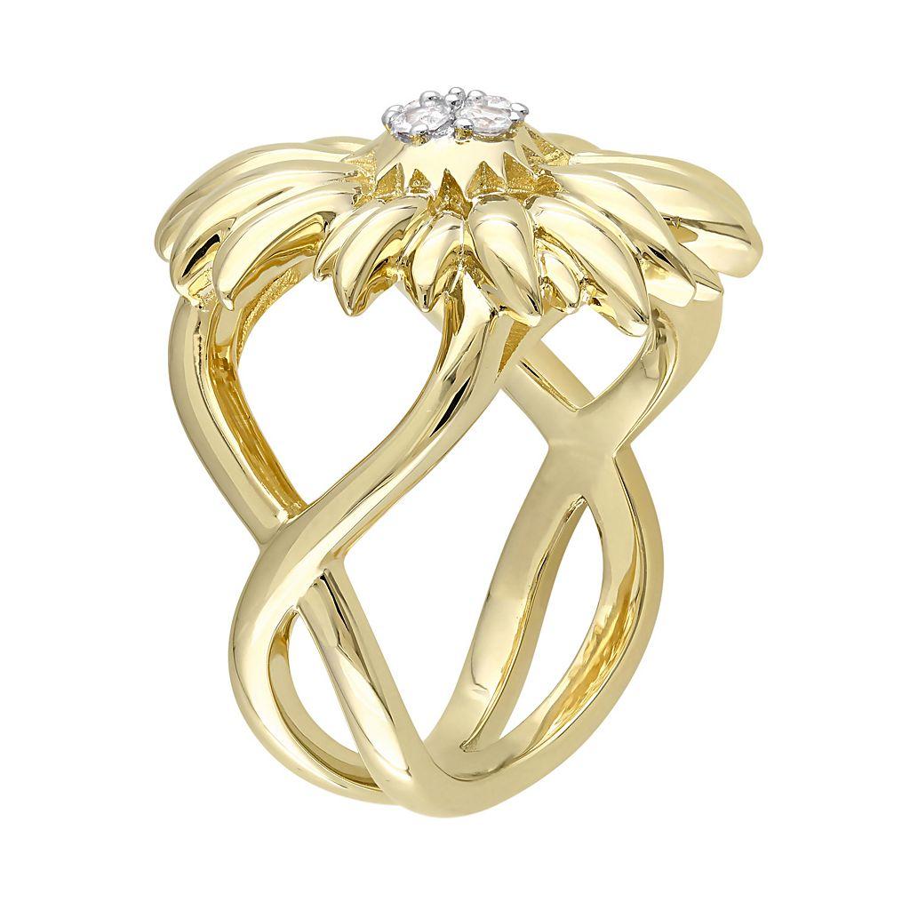 V19.69 Italia 18k Gold Over Silver White Sapphire Sunflower Ring