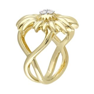V19.69 Italia 18k Gold Over Silver White Sapphire Sunflower Ring