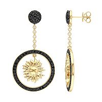 V19.69 Italia 18k Gold Over Silver Black Sapphire Sunflower Drop Earrings
